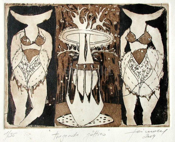 Luis Seiwald - Tragende Göttin - Radierung - 2004