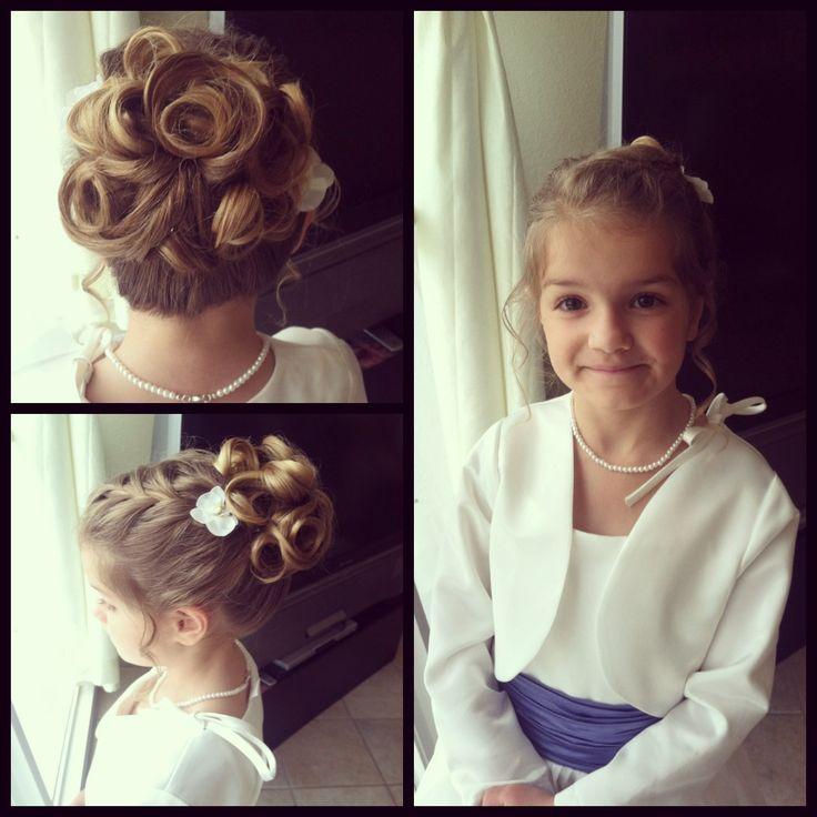 Flower girl hair. Rose shaped,princess updo!