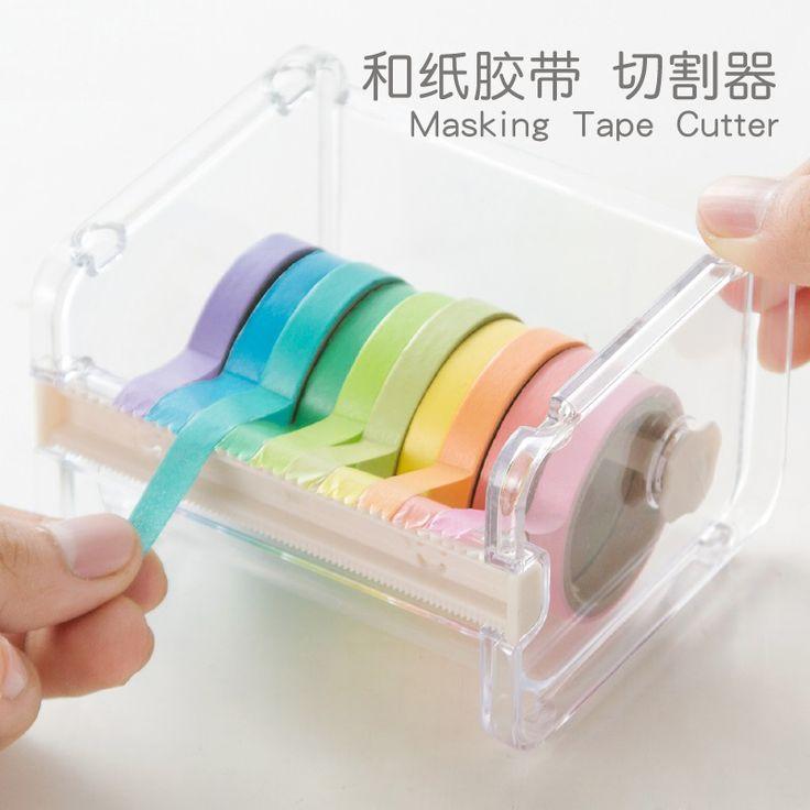 1 PC Japanese Stationery Masking Tape Cutter  Washi Tape Storage Organizer Cutter Office Tape Dispenser Office Supplies