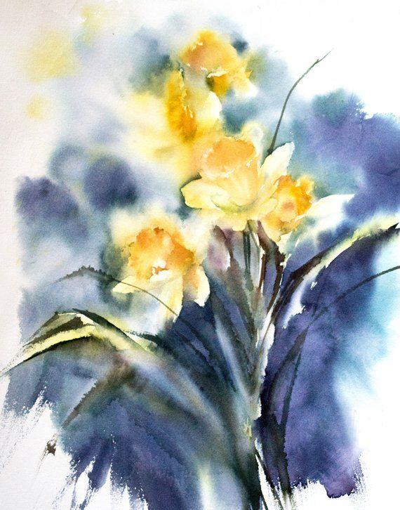 Yellow Daffodils Art Print Yellow Flowers Watercolor Print