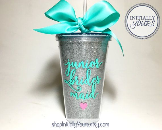 Junior Bridesmaid Tumbler, Glitter Cup, Personalized Junior Bridesmaid Gift, Jr Bridesmaid, Acrylic Tumbler with Straw