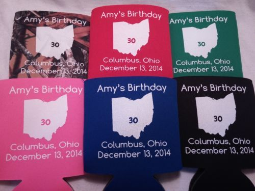 Ohio Koozies State 30th Birthday Personalized Can Coolers 1 100