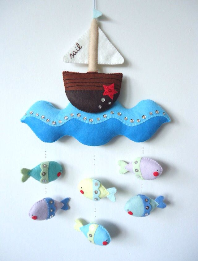 Feutrine  baby babies  boys crib mobile ship sailing blue ocean wave with fish hanging beneath ship  February 2015