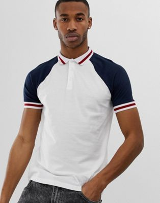 50219af3 ASOS DESIGN organic raglan polo shirt with contrast sleeves and tipping in  white