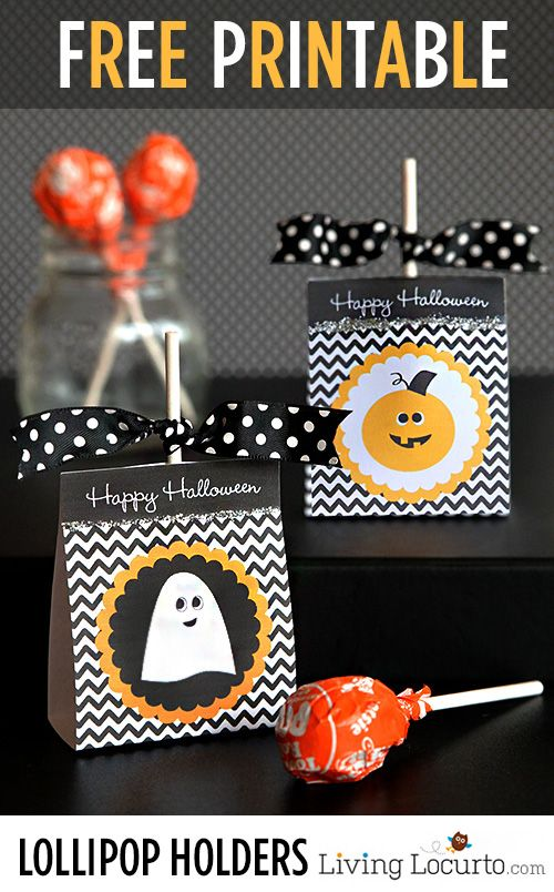 Give away your Halloween lollipops in cute Halloween themed holders. Click through for Living Locurto's free printable. Perfect as a Halloween party gift for kids.