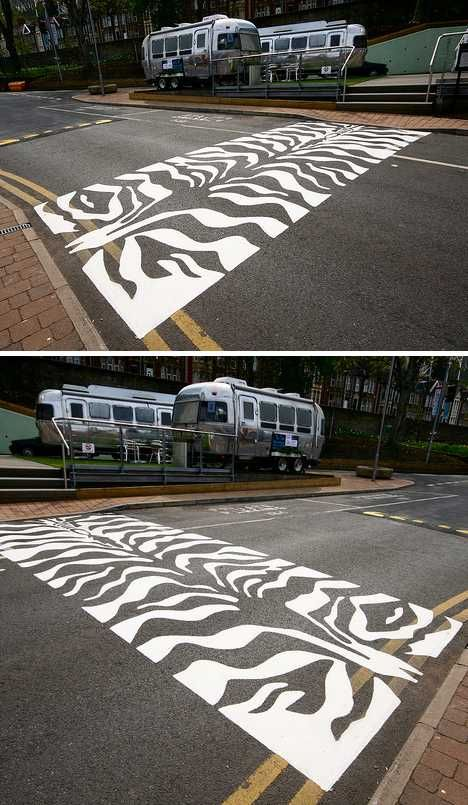 Zebra Zebra Crossing in Bristol, England - photo by Canis Major (Steve), via Flickr, from weburbanist;  near Arnos Vale in Bristol     ...Apparently the UK also has Toucan crossings, Pelican crossings, Puffin crossings, Tiger crossings, and Penguin crossings...at least according to weburbanist....