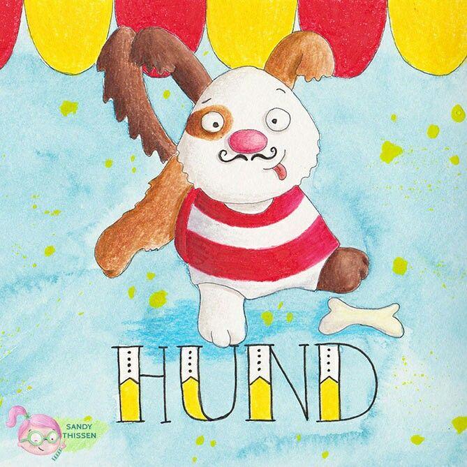 Zirkus Hund mit Schnurrbart Illustration von Sandy Thissen #zirkus #illustration