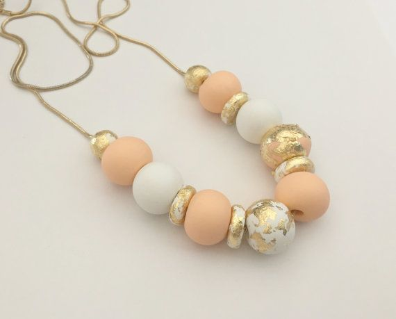 Peach, White and Gold Leaf Polymer Clay Necklace