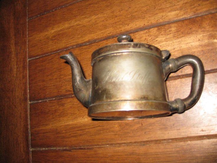 "Hotel Ware Hotel Stafford Antique Individual Tea Pot Creamer Indestructo 4"" Tall #BenedictIndestructoSheffieldPlate"