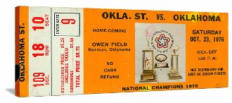 Barry Switzer led Oklahoma to the 1975 National Title as this 1976 Oklahoma State vs. Oklahoma Football Ticket shows.