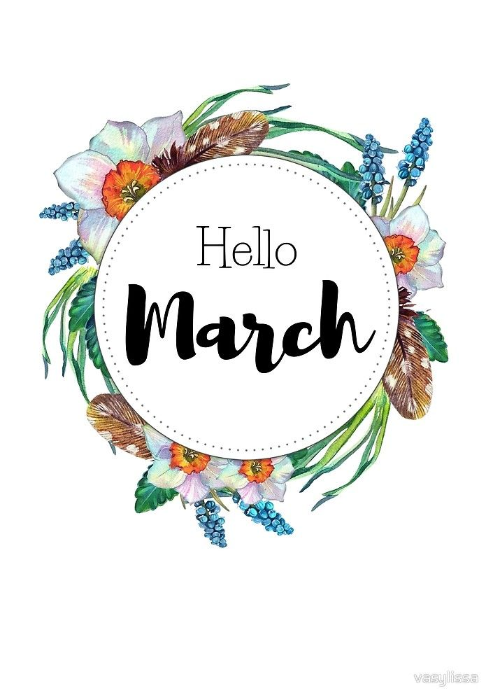 Hello March - monthly cover for planners, bullet journals by Kamila Stankiewicz Bullet Journal Titles, March Bullet Journal, Bullet Journal Inspiration, Book Journal, Bullet Journals, Bonjour Mars, March Month, March 1st, Journal Covers