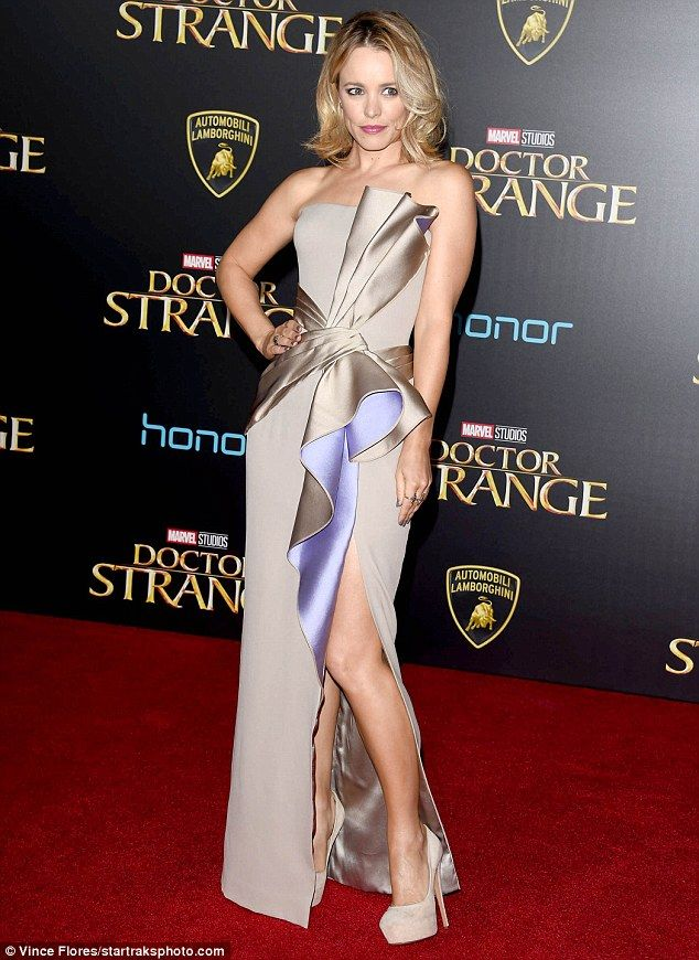 Leading lady: Rachel McAdams looked stunning at the Hollywood premiere of Doctor Strange o...