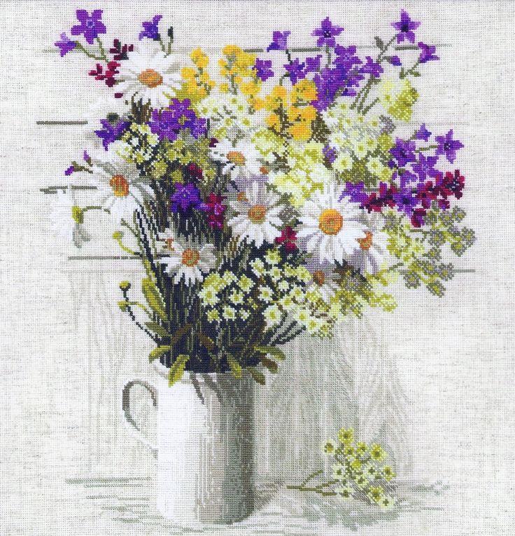 Вышивка «Полевые цветы» | Скачать схему бесплатно