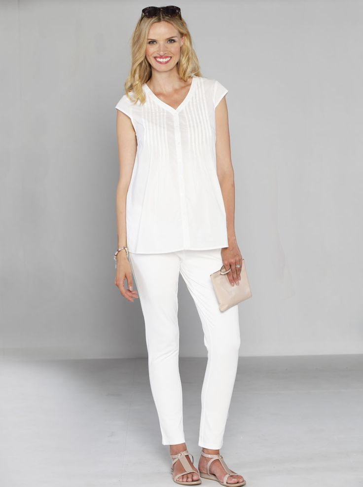 Nothing goes better than white with white! Fitted Cotton Twill Cropped Pants in White, $49.95, down to $39.95, with go with EVERYTHING in your wardrobe.