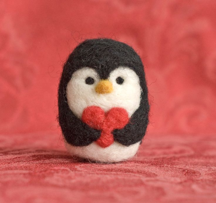 Needle Felted Penguin - Valentine Heart. $19.00, via Etsy. My daughter loves penguins and this is adorable!