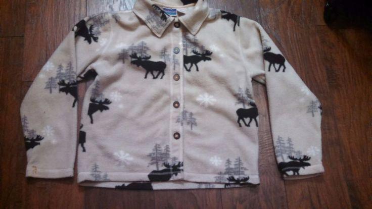 NorthCrest Ladies Flannel Button Front Shirt, Jacket Size M Moose Mountain Motif #NorthCrest #ButtonDownShirt