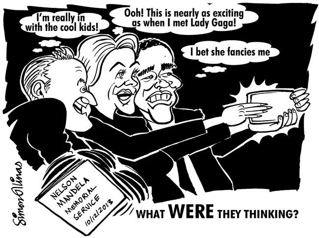 THE CARTOON ABOVE was an immediate response to the outrageous behaviour of world leaders at the memorial service for Nelson Mandela. Being able to encapsulate public reaction in a quick cartoon drawing like this is very satisfying.
