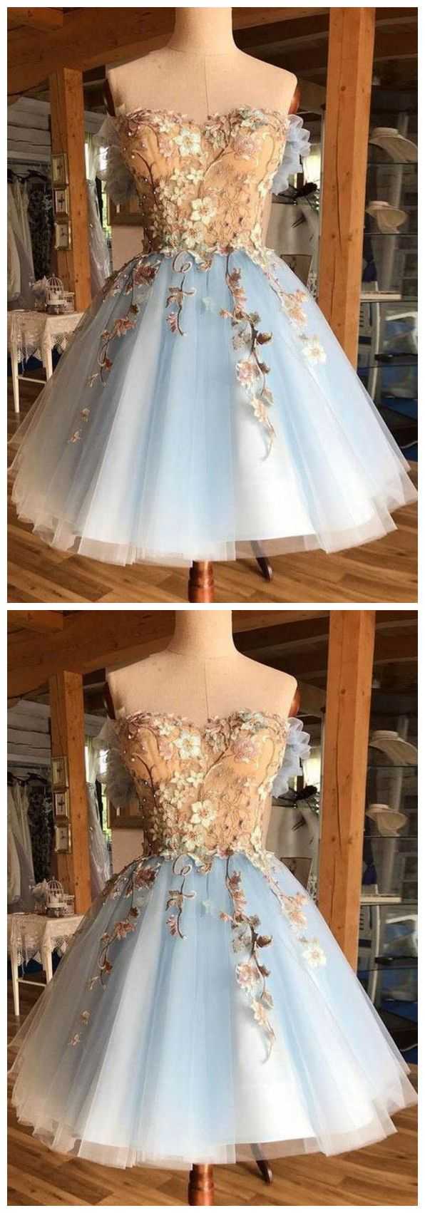 Tulle lace short prom dress, blue homecoming dress