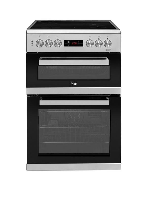 Beko KDC653S 60cm Electric Cooker with Ceramic Hob - Silver With a fully programmable timer, this double oven electric cooker helps you keep track of your food's progress as it cooks. Easy clean 60cm ceramic hob.4 #ElectricCooker