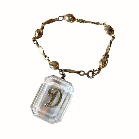Vintage 1960s letter d initial charm bracelet by coriluvintage 18 00