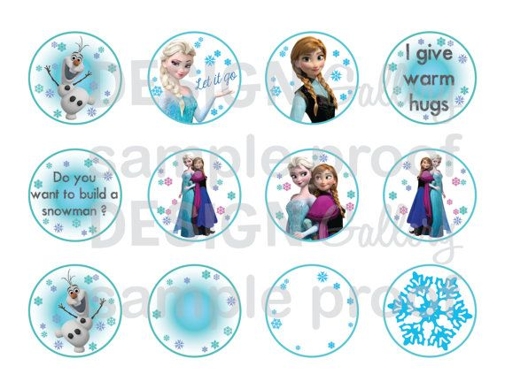 """Disney's Frozen cake toppers 2"""" round - DIY Printable Instant Download birthday party cupcake"""