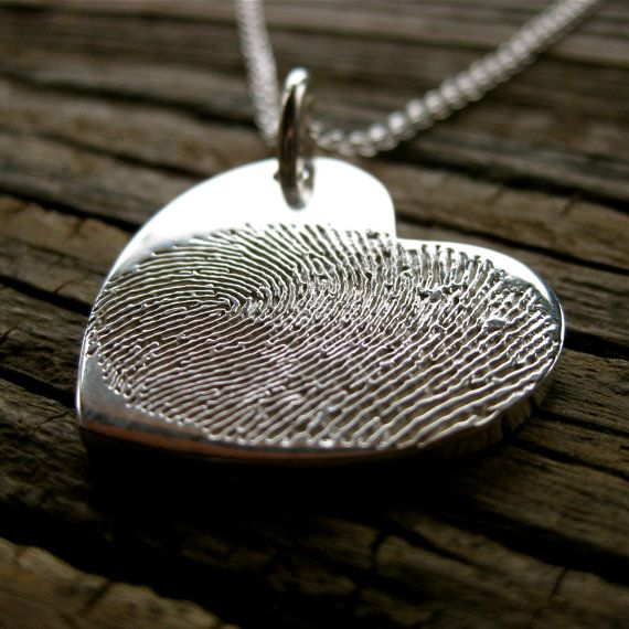 Custom Designed Heart Shaped Double Finger Print Engraved Pendant in Sterling Silver with Link Chain #heart #valentine