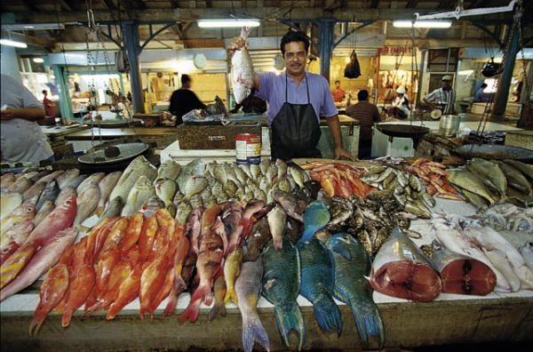 Port Louis fish market, Mauritius.