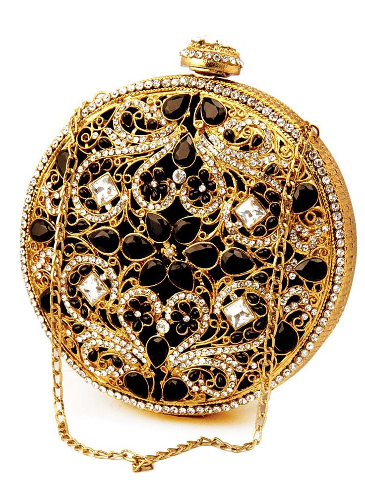 Graceful golden and black color brass #Metal #Clutch ornamented with sparkling diamantes, stone and crystal. Item Code : SJBP2014 http://www.bharatplaza.com/new-arrivals/accessories.html