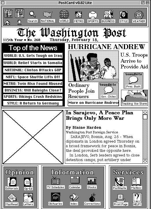 """A Vision for the Future of Newspapers - 20 Years Ago"" -- ""Recovering journalist"" Mark Potts chronicles the Washington Post's earliest reactions to the rise of the personal computer."