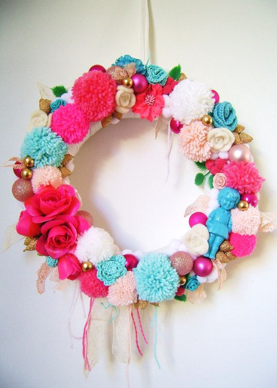 Candy coloured Christmas wreath by SillyOldSuitcase on Etsy, $49.80