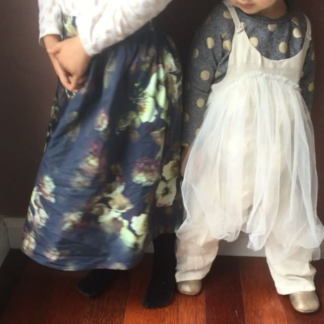 Baby girls in floral, gold spots and tulle...