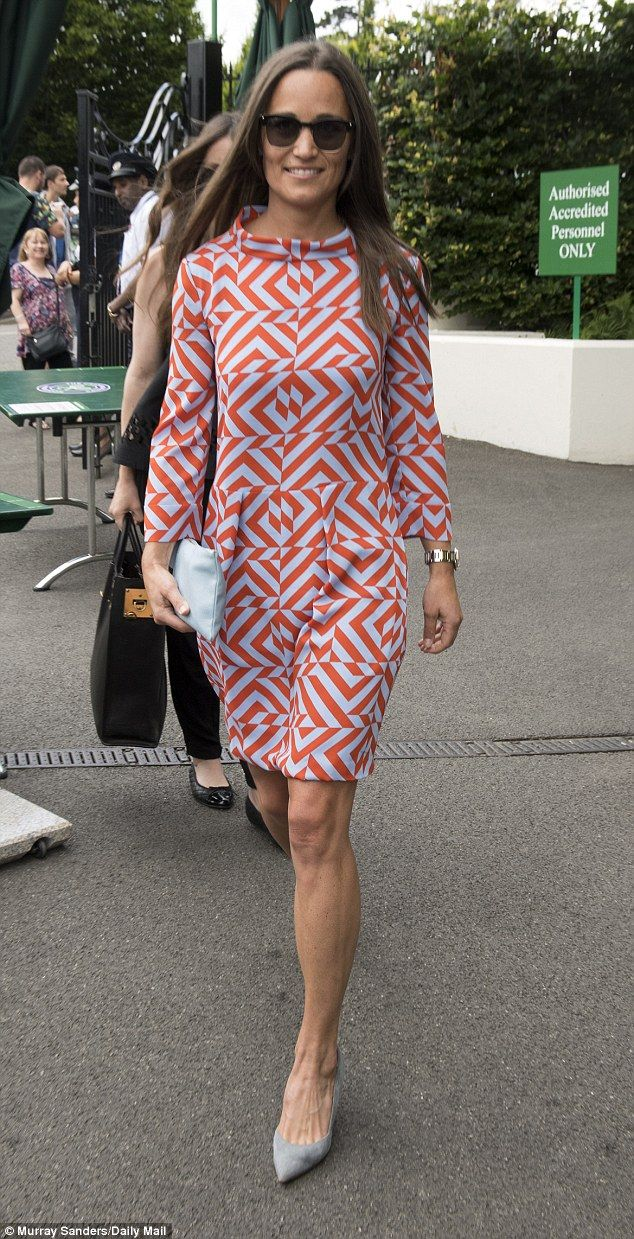 Pippa Middleton, 32, stood out from the crowd in an eye-catching geometric print dress as ...