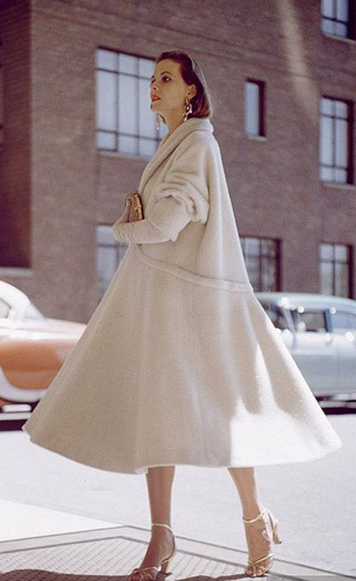 White Wool Swing Coat, photo Nina Leen 1954