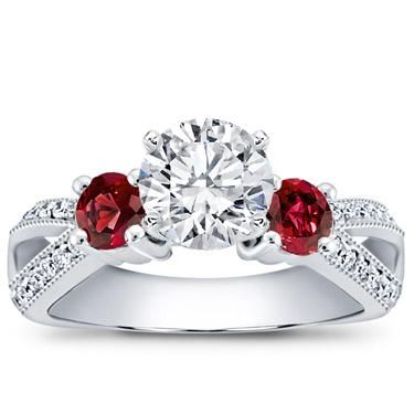 double accent engagement oval halo rings with ring ruby