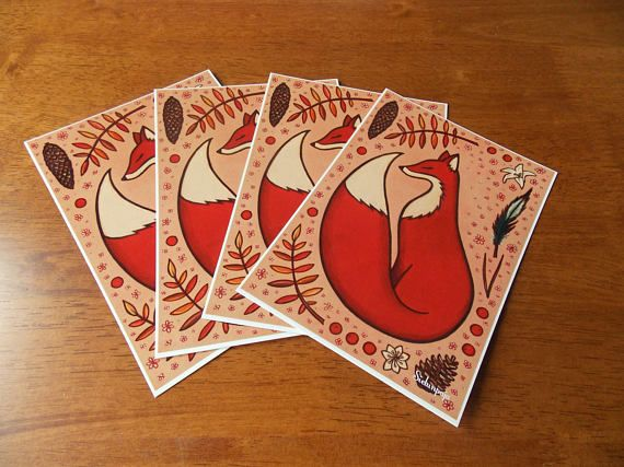 "4 Pieces Set of Art Postcard ""Peaceful Fox"""