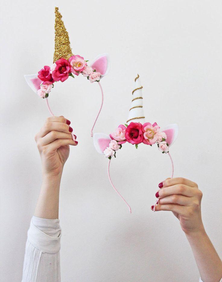 Wir zeigen euch, wie ihr diese glitzernden DIY Einhorn Haarreifen ganz einfach nachbasteln könnt. Der bezaubernde Hingucker auf eurer nächsten Einhorn Party
