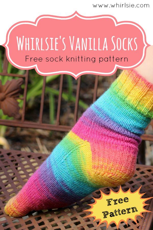 Free vanilla sock pattern by Leeana Gardiner from Whirlsie's Designs