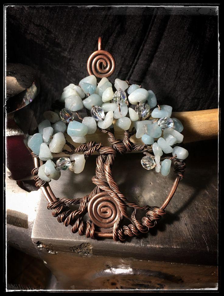 Medaglione albero della vita rame e amazzonite - tree of life copper wire