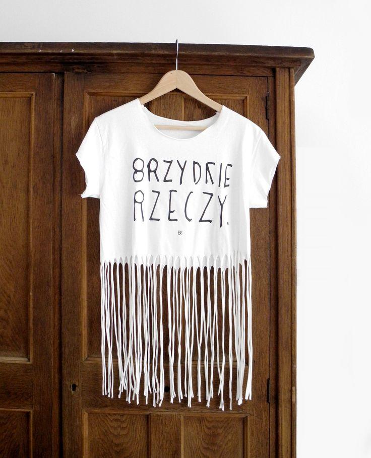 BIAŁY FRĘDZEL - brzydka koszulka z nadrukiem