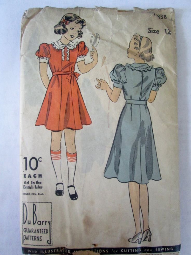 DuBarry 1783B ragazze adolescenti 30s Ruffle Dress Pattern seno Bust 32 by Denisecraft on Etsy