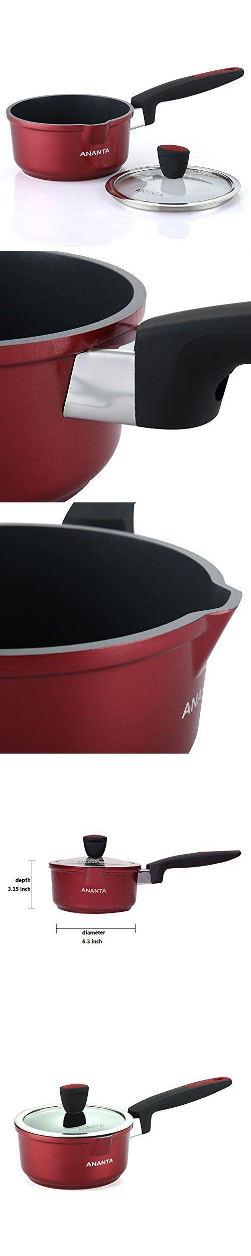 ANANTA Specialty Nonstick Handy Pot EN601 Food Grade Aluminium Alloy Milk Pan With Glass Lid Cookware,1-1/4-Quart Stockpot,1-Piece Butter Warmer,Red Saucepan