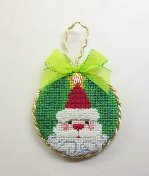 Finished Christmas Needlepoint Santa Claus w/Star & Curly Beard  Ornament #handcrafted