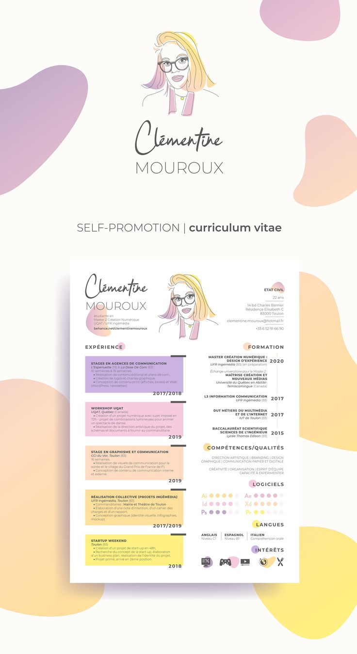 Colorful illustrated resume / CV. Creative CV of