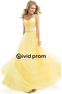 2014 Hot Prom Dress Tulle Ball Gown With Jeweled Straps Yellow Backless USD 230.99 VVPP81NN4N3 - VividProm.com