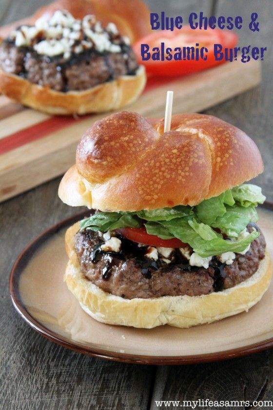 Blue Cheese & Balsamic Burger {www.mylifeasamrs.com}: Bleu Cheese Burgers, Bluechees Burgers, Chee Balsamic, Balsamic Burgers, Blue Cheese Burgers, Burgers Www Mylifeasamr Com, Cheese Balsamic, Tastiest Burgers, Chee Burgers