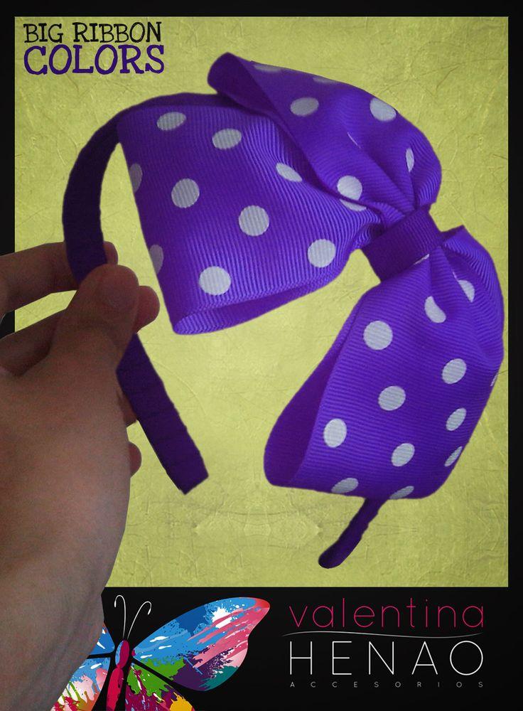 Diadema moño grande cinta pepas Morado