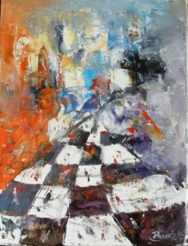Chess series Original abstract surreal oil painting