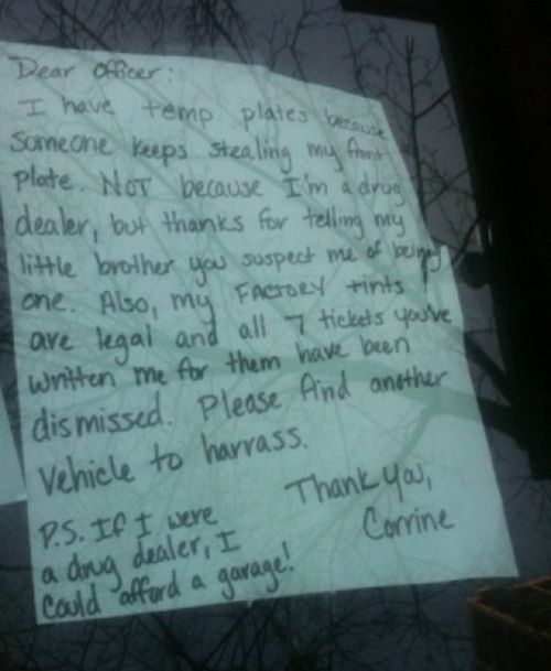 25 Most Hilarious Windshield Notes EverPolice Offices, Cops, Dealer Windshield, Note Left, Funny, Dear Offices, Drugs Dealer, Windshield Note, Cars Note