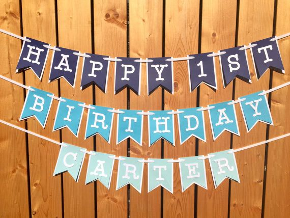 A custom blue ombre HAPPY (1ST) BIRTHDAY banner! Banner can simply read HAPPY BIRTHDAY or you can add an age and/or name - just see below! Banner options ~ * ADD an AGE - Choose 2nd option. * ADD a NAME - Choose 3rd option. * ADD an AGE and a NAME - Choose 4th option. When adding an AGE or