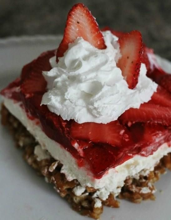 Strawberry Pretzel Jello Salad - My MIL makes this and it's so rediculously delicious!!